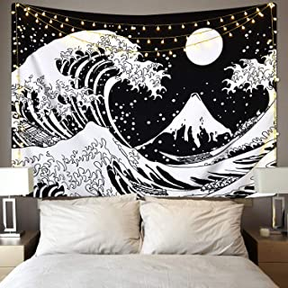 Kanagawa Great Wave Tapestry, Japanese Ocean Wave Tapestry, The Wave Tapestry with Sun Tapestries, Black and White Tapestry for Room