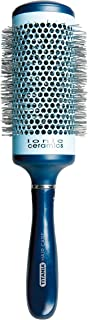 Titania Round Ceramic-Coated Hair Brush - Professional Quality Curling & Straightening Hairbrush w/Ionic Bristle For Styling & Smoothing Curly & Straight Hair, Natural Extensions & Wig