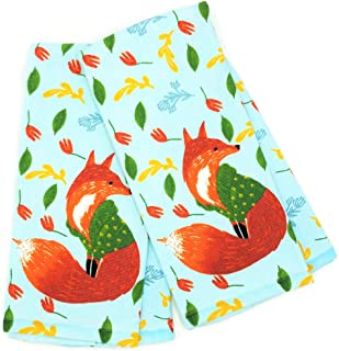 Isaac Mizrahi Fall Autumn Red Fox in Cozy Sweater Kitchen Towels Set of 2 Dishtowels, Soft Absorbent Cotton Perfect for Baking Cooking Dish Drying & Fall Kitchen Home Decor