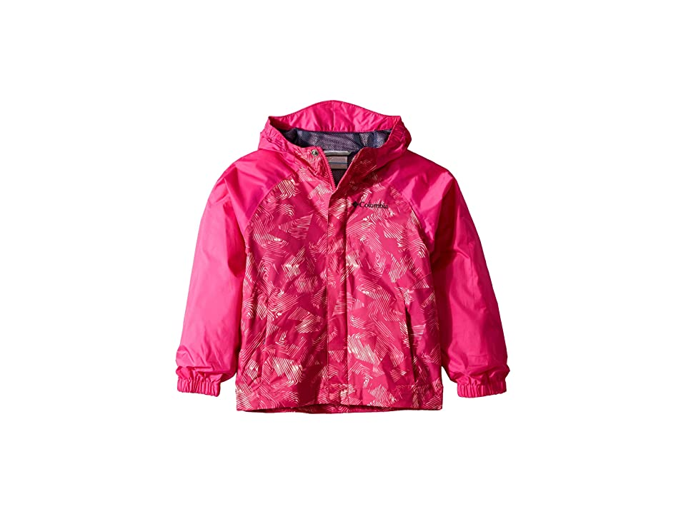Columbia Kids Fast and Curioustm II Rain Jacket (Little Kids/Big Kids) (Haute Pink Invizza/Haute Pink Texture) Girl
