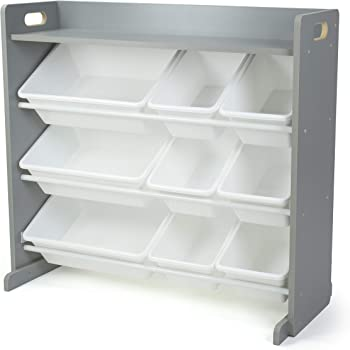 Humble Crew Inspire Toy Organizer with Shelf and 9 Storage Bins, Grey/White