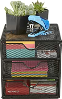 $20 » Mind Reader MINMESH3-BLK Mesh Mini 3 Tier, Desk Office Supplies Organizer, 3 Drawers, 1 Top Shelf, Black