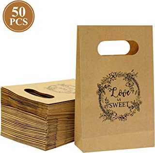 Brown Craft Paper Bag with Handled,Friday night Craft Treat Bags 8.5 * 5.5 * 2 Inch for Wedding Party Business(50pcs)