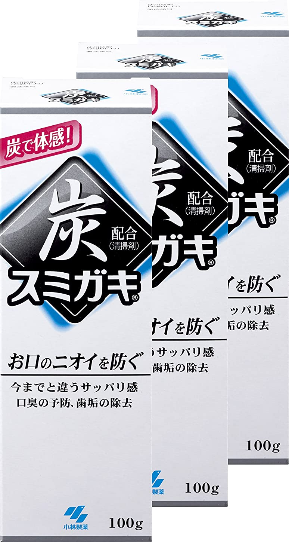 毎月マッサージコイル【まとめ買い】スミガキ 炭配合(清掃剤) 口臭予防 歯みがき ハーブミントの香り 100g×3個