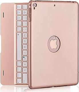 NOKBABO iPad Keyboard Case for iPad Pro 9.7 Inch, New 2018 iPad, 2017 iPad, iPad Air 1 and 2 Bluetooth Keyboard with 130° Smart Folio Hard Back Cover, Ultra Slim, Auto Wake and Sleep (Rose Gold)