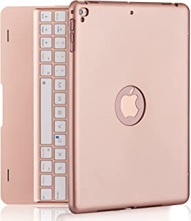 iPad Keyboard Case for iPad Pro 9.7 Inch, New 2018 iPad, 2017 iPad, iPad Air 1 and 2 Bluetooth Keyboard with 130° Smart Folio Hard Back Cover, Ultra Slim, Auto Wake and Sleep (Rose Gold)
