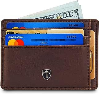 "TRAVANDO Front Pocket Minimalist Slim Wallets for Men ""TEXAS"" – 9 Card Slots – RFID Blocking – Thin Card Sleeve"