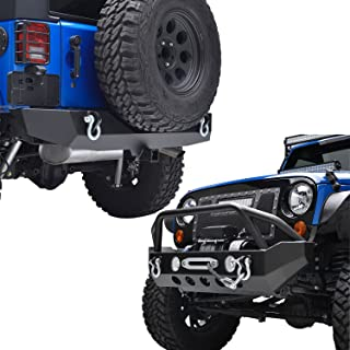 EAG Fit for 07-18 Wrangler JK Front Bumper with Winch Plate & Rear Bumper with 2
