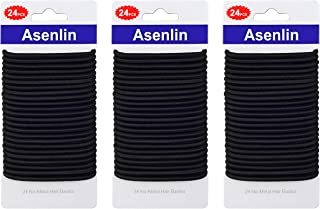 Asenlin Hair Ties Bands Neutral Ouchless for Women Men Girls No Metal Elastics Thick Tie with Strong Ponytail Holder and 4...
