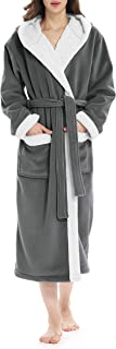 Fleece Robes for Women, Plush Fluffy Robe with Hood Womens Bathrobe Lounge Robe House Coat S~XL