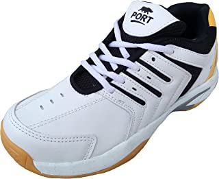 Port Sports Sparking White PU Badminton Indoor Court Squash Shoes