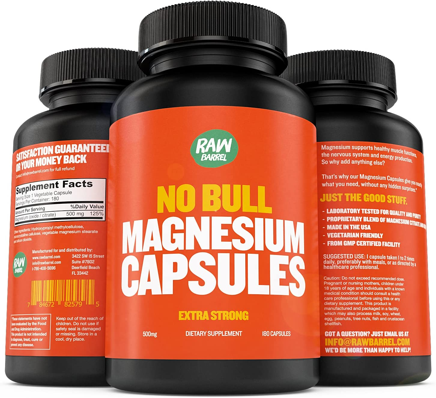 Bombing new work Raw Barrel's - Pure Magnesium service 500mg EXTRA STRONG Vegg Capsules