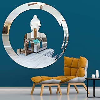 Best Decor Buddha Circle Silver Code 859 Acrylic Mirror 3D Wall Sticker Decoration for Kids Room/Living Room/Bedroom/Offic...