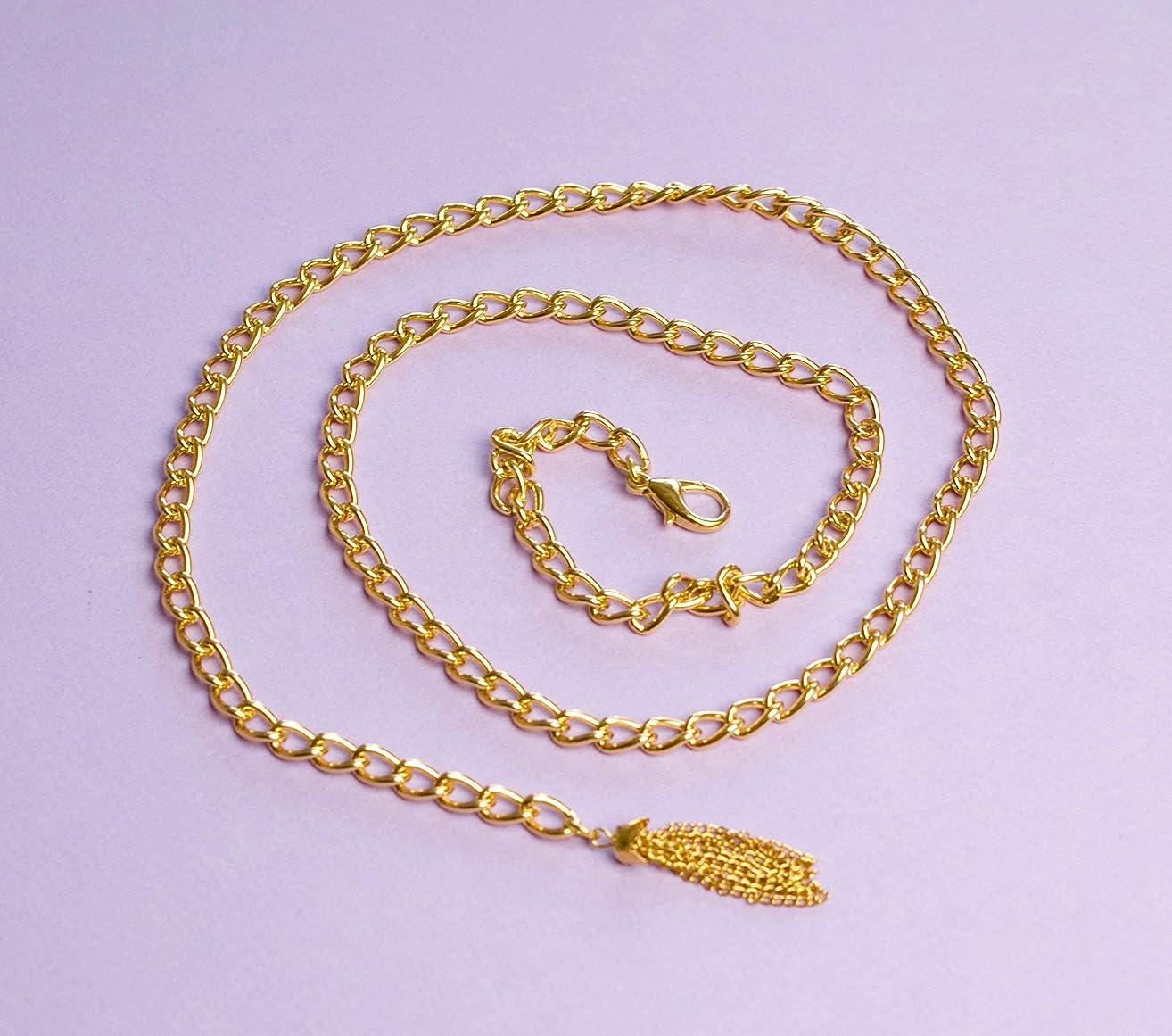 Gold Chain Belt with Tassel PLUS SIZE and REGULAR Retro 90s Waist Belt
