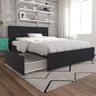 Novogratz Kelly Bed with Storage, Full, Dark Gray Linen
