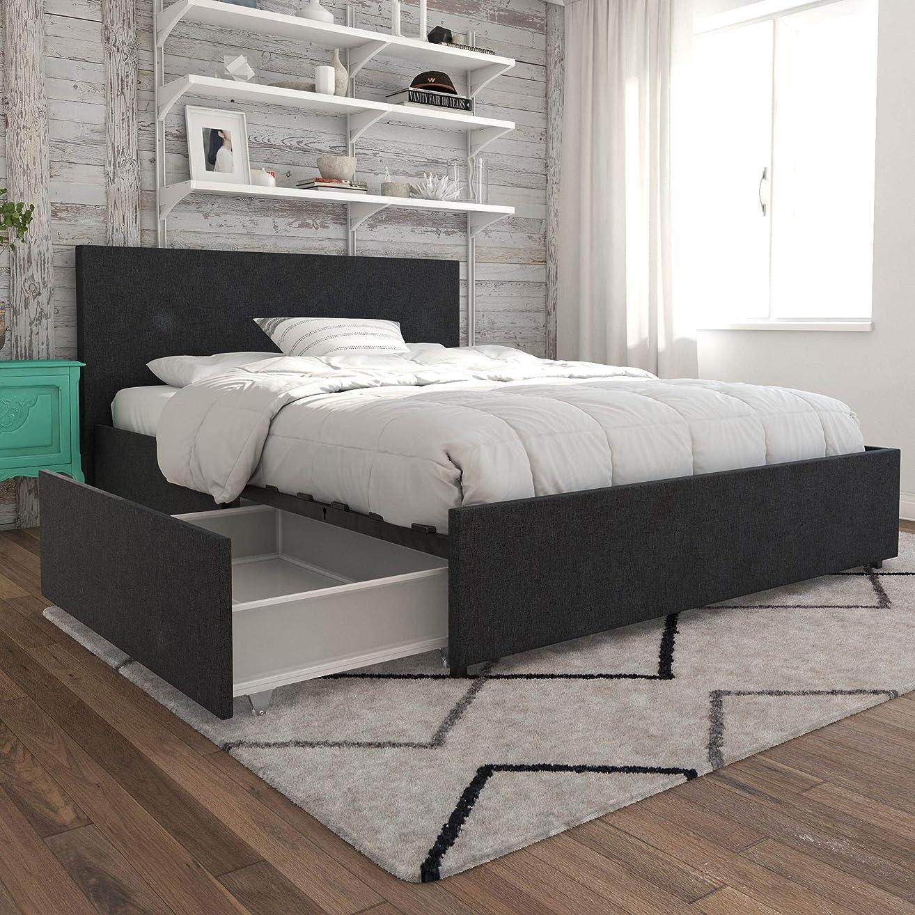 Novogratz Kelly Bed with Storage, Queen, Dark Gray Linen
