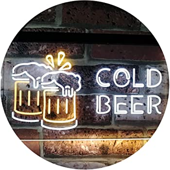 "ADVPRO Cold Beer Bar Pub Club Décor Dual Color LED Neon Sign White & Yellow 16"" x 12"" st6s43-i2069-wy"