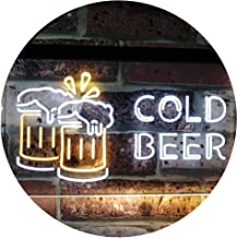 Cold Beer Bar Pub Club Décor Dual Color LED Neon Sign White & Yellow 600 x 400mm st6s64-i2069-wy