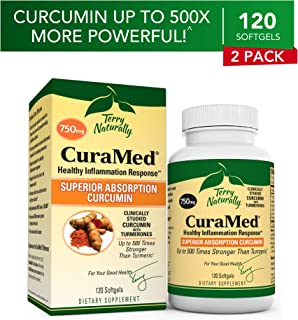 Terry Naturally CuraMed 750 mg (2 Pack) - 120 Softgels - Superior Absorption BCM-95 Curcumin Supplement, Promotes Healthy Inflammation Response - Non-GMO, Gluten-Free, Halal - 240 Total Servings