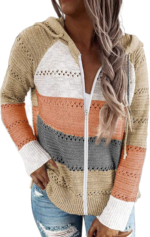 Biucly Womens Long Sleeve Knit Sweater Zip Up Hoodie Jacket Lightweight Drawstring Color Block Sweatshirt
