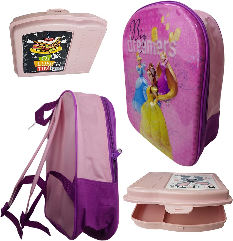 Mochila infantil Bundel con diseño 3D de princesa + fiambrera Bento, diseño de fiambrera para el almuerzo, para niñas, set de regalo para picnic, guardería o preescolar