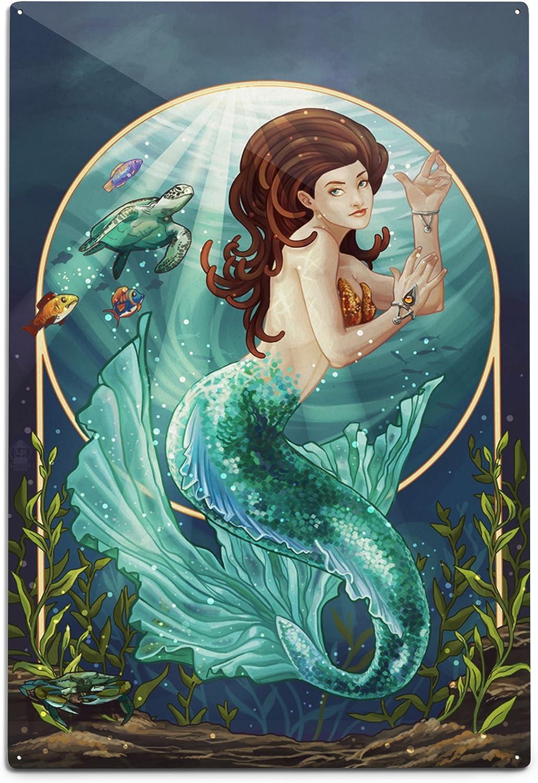 Lantern Press Indefinitely Mermaid Blue Tail 5% OFF Wal Sign 12x18 Wall Aluminum