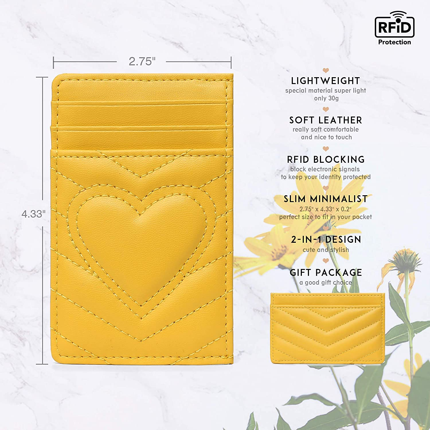 Womens Leather Credit Card Holder Wallet with RFID Protection