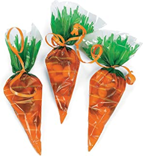 Fun Express - Cellophane Carrot Shaped Bags (12pc) for Easter - Party Supplies - Bags - Cellophane Bags - Easter - 12 Pieces