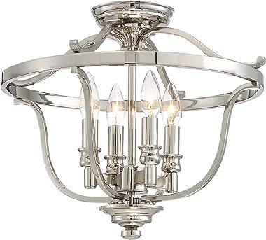Minka Lavery Semi Flush Mount Ceiling Light 3296-613 Audrey's Point Lighting Fixture, 4-Light 240 Watts, Polished Nickel