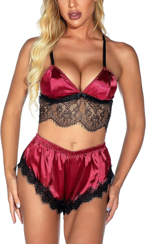 Pajama Set for Women Camisole 2 Pieces Sexy Lace Satin Lingerie Set Braces Crop Vest Shorts Modal Underwear
