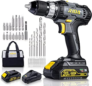 RIDA 20V Cordless Drill, 2.0Ah Lithium-ion Battery and Fast Charger, 355 In-lbs Torque, 1/2'' Metal Chuck,0-1500RPM Variab...