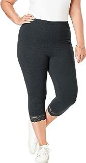 Women's Plus Size Essential Stretch Lace-Trim Capri Legging