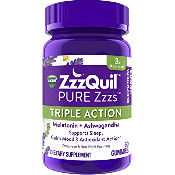 ZzzQuil PURE Zzzs Triple Action Gummy Melatonin Sleep-Aid with Ashwagandha, 6mg per Serving by ZzzQuil, 60 Gummies