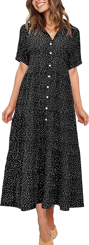 PeoKia Casual Boho Long Dress for Women Summer Short Sleeve Polka Dot Ruffle High Waist Midi Beach Dresses