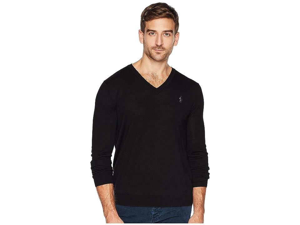 Polo Ralph Lauren Washable Merino V-Neck Sweater (Polo Black) Men