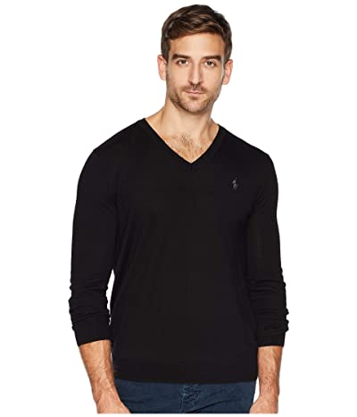 Polo Ralph Lauren Washable Merino V-Neck Sweater (Polo Black) Men
