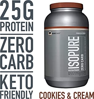 Isopure Zero Carb, Keto Friendly Protein Powder, 100% Whey Protein Isolate, Flavor: Cookies & Cream, 3 Pounds