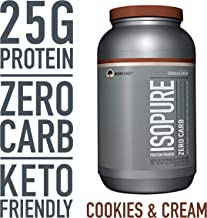 Isopure Zero Carb Protein Powder, 100% Whey Protein Isolate, Gluten Free/Lactose Free,Keto Friendly, Flavor: Cookies & Cream, 3 Pounds