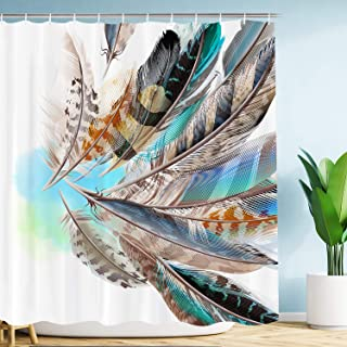 VIMMUCIR [Advanced Printing Quality] Colorful Feather Shower Curtain, 3D Retro Style Print with Vaned Types Flight Feathers Element, Teal Brown Fabric Bathroom Decor Set with Hooks, 72