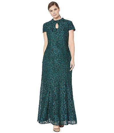 Alex Evenings Long Mandarin Collar Fit-and-Flare Dress with Keyhole Cutout Neckline (Hunter Green) Women