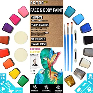 Face Painting Kit - 52 Assorted Pieces. Vegan Formula - Sensitive Skin Approved. (16 Face Paint Colours, 6 Applicators, 30 Stencils) - Water Based Face and Body Paint …