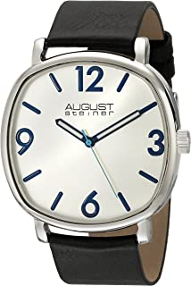 Men's AS8139 Silver Quartz Watch with Calfskin Leather Strap