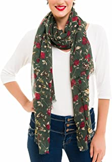 Scarf for Women Lightweight Floral Flower for Fall Winter Scarves Shawl Wrap