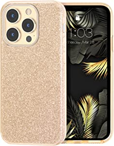 MILPROX Compatible with iPhone 13 Pro Max Case (2021), Glitter Sparkly Shiny Bling Rubber Gel Shell Cases 3 Layers Shockproof Protective Bumper Cover for iPhone 13 Pro Max 6.7