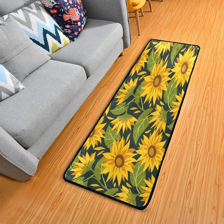 OTVEE Summer Sunflowers Rug Direct stock discount Runners Laundry overseas Runner 2x6 Room