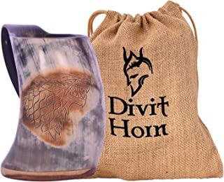 Divit Genuine Viking Drinking Horn Mug   Authentic Medieval Beer Horn Tankard   24oz Capacity Horn Cup/Stein. (Fenrir, Polished)