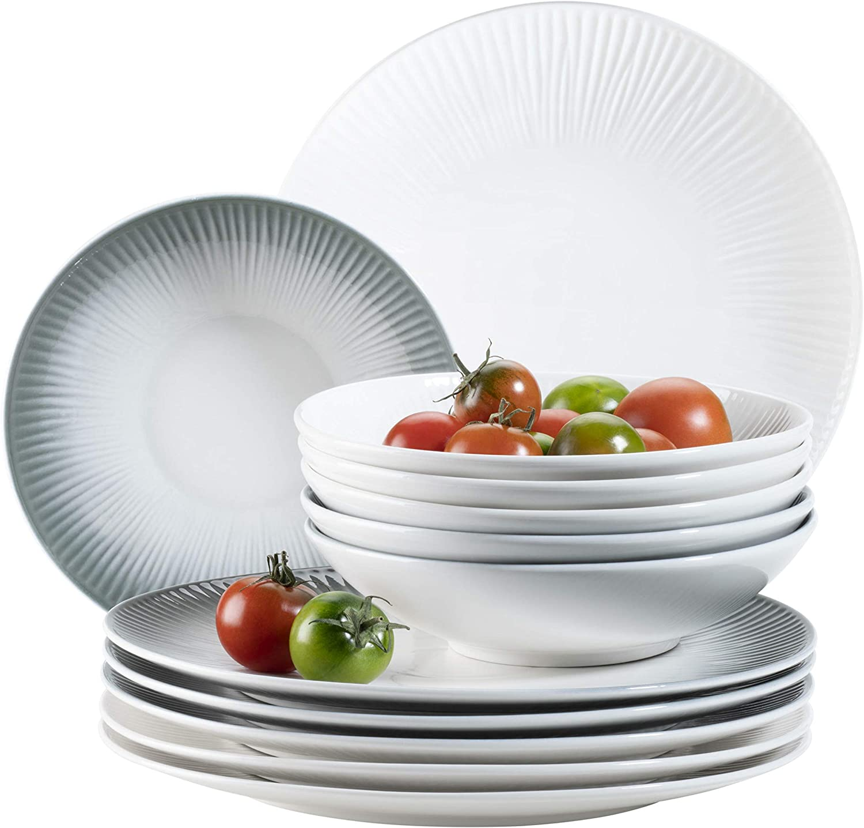 MÄSER 931461 Dalia, tafelservies voor 6 personen van hoogwaardig hotelporselein in wit, 12-delige borden set in vintage design, duurzaam porselein grijs/wit