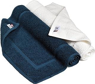 ブルーム 今治タオル 認定 レオン バスマット 2枚セット ホテル仕様 日本製 (ホワイト×シーブルー)
