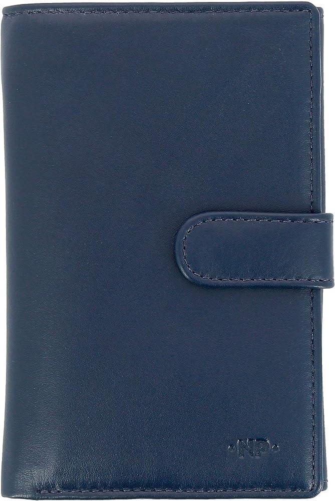 Nuvola pelle, portafoglio per donna, porta carte di credito grande, in vera pelle, blu 8031847166439