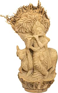 DC ECO Home Decor Unique Product Bamboo Roots Artwork Religious Idol Lord Krishna (30 * 16 * 15 cm)